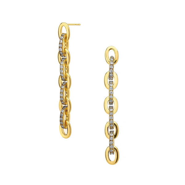 DIAMOND PAVE CHAIN LINEAR EARRINGS