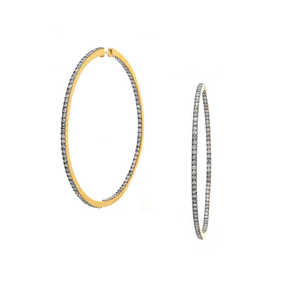 DIAMOND PAVE LARGE HOOP EARRINGS