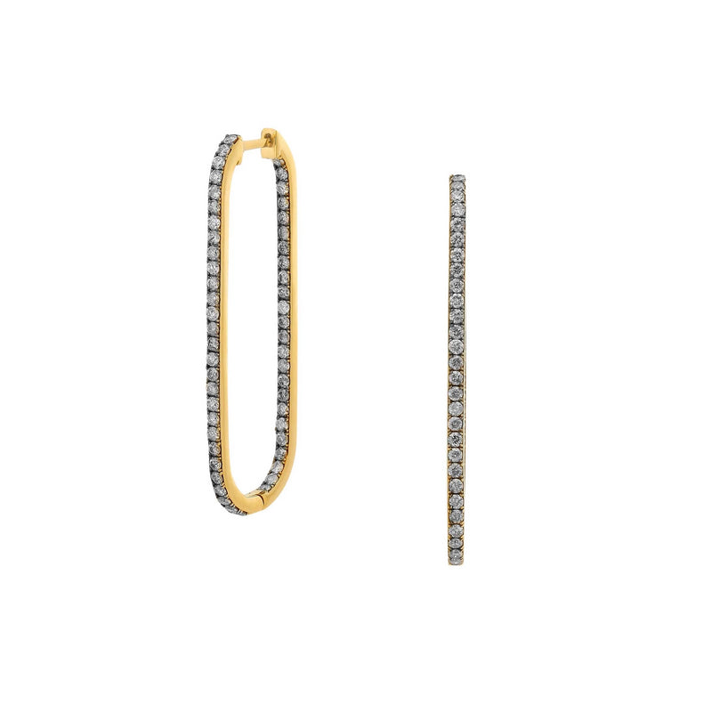 LONG LINK DIAMOND PAVE HINGED HOOP EARRINGS