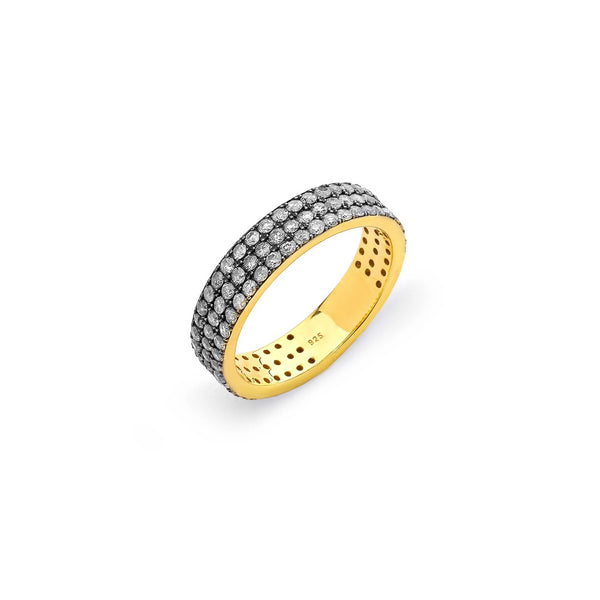 TRIPLE ROW DIAMOND PAVE RING