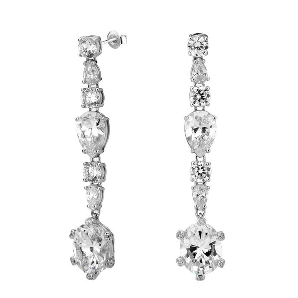 CZ MIXED STONE LINEAR WITH STONE-SET PRONG DROP EARRINGS