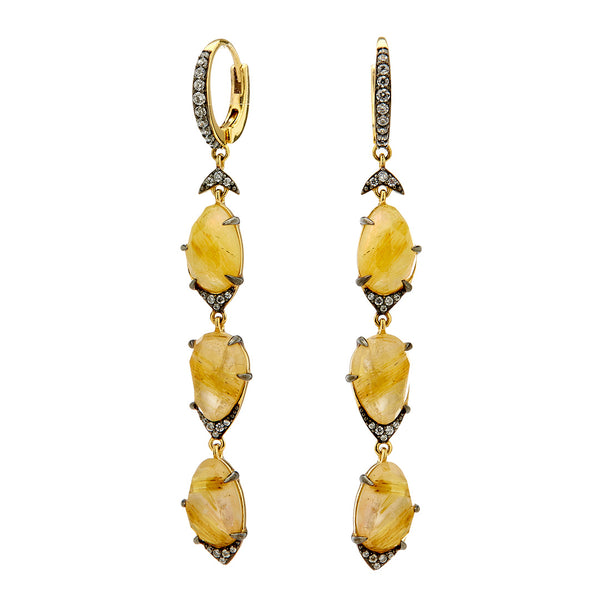 RAVENNA 3 STONE DROP EARRINGS