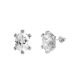 STONE SET PRONG OVAL CZ STUD EARRINGS