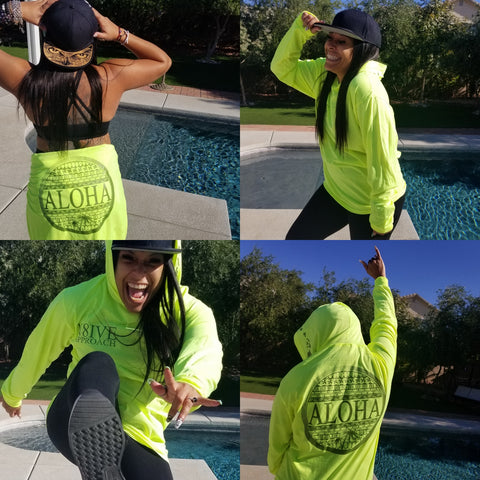 N8IVE ALOHA LONG SLEEVE HOODIE HIGHLIGHTER