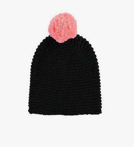 BUFANDA MISSPOMPOM STRIPE BLACK