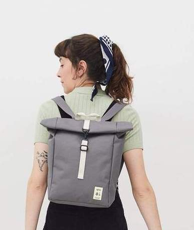 MOCHILA VEGANA LEFRIK ROLL MINI GREY
