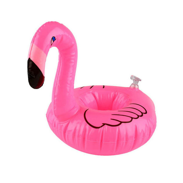 1Pc Mini Cute Pink Floating Flamingo Floating Inflatable Drink Can Holder Swimming Pool