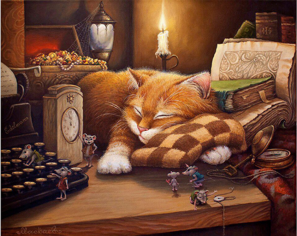 "Painting by Numbers - ""The Sleeping Cat"""
