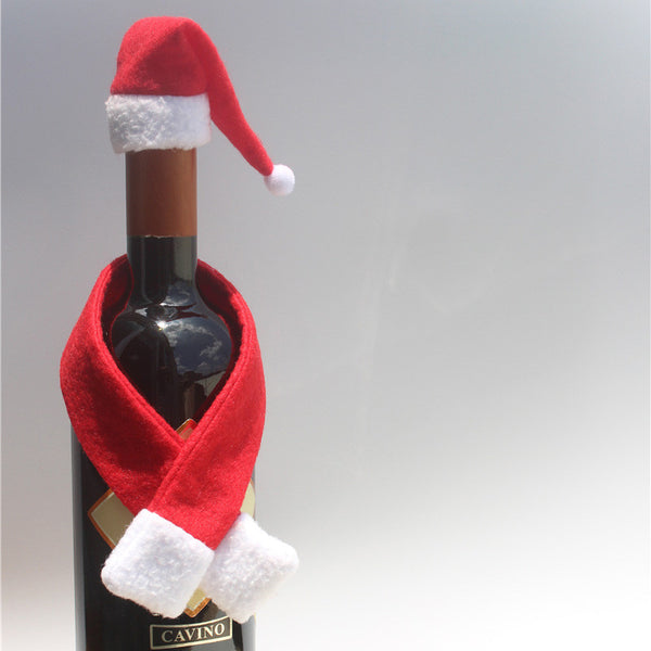 2017 New Year Christmas Decorations Scarf Hat Wine Bottle Cover