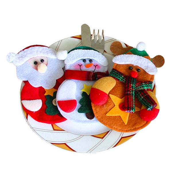 3pcs Santa Snowman & Reindeer Silverware Bags for Dinner Parties