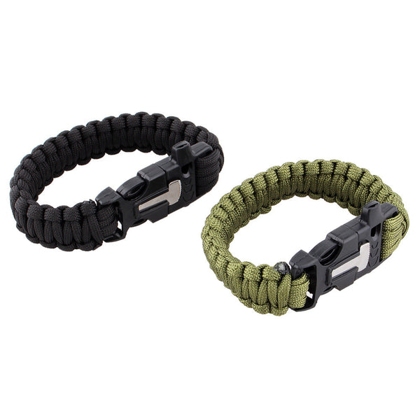 4 in 1 Survival Paracord Bracelet Flint Fire Starter & Scraper
