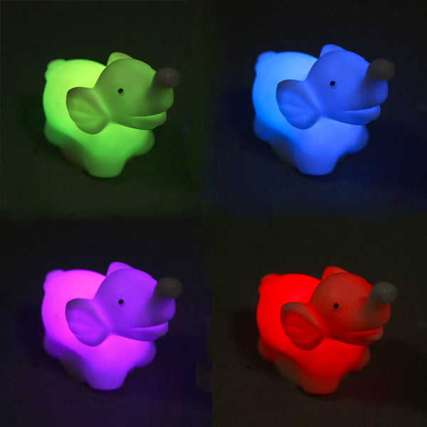 Multi-Colored Travel Elephant LED Battery-powered Night Light Lamp (7 ALTERNATING COLORS!)
