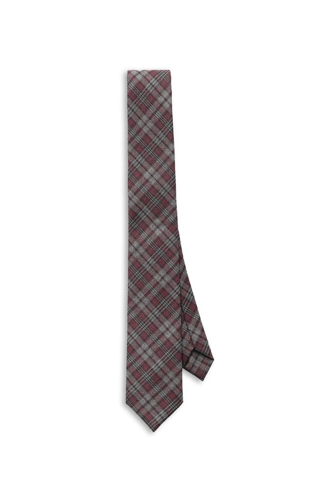 Claret Red Plaid Tie