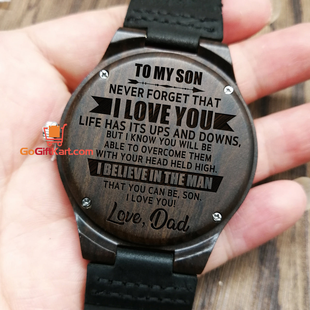 Son Dad Never Forget Wooden Watch