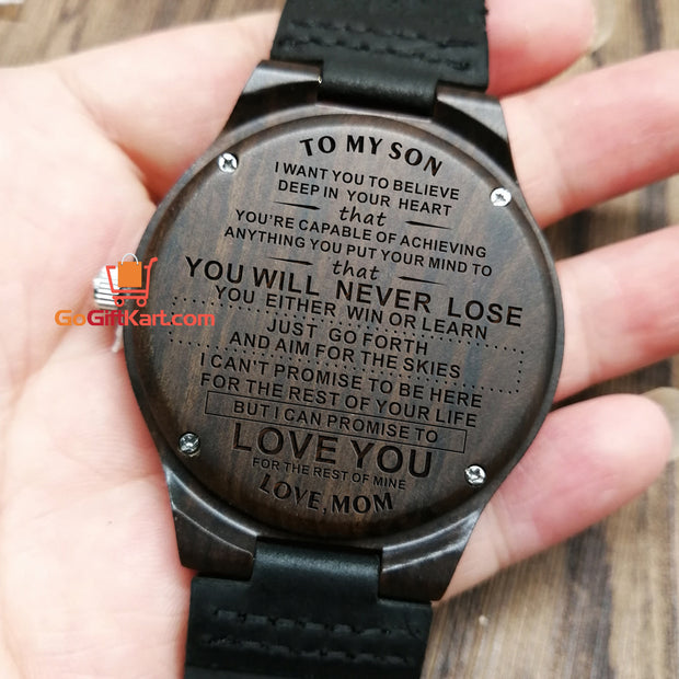 Son Mom Never Lose 2 Wooden Watch