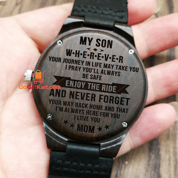 Son Mom Enjoy The Ride Wooden Watch