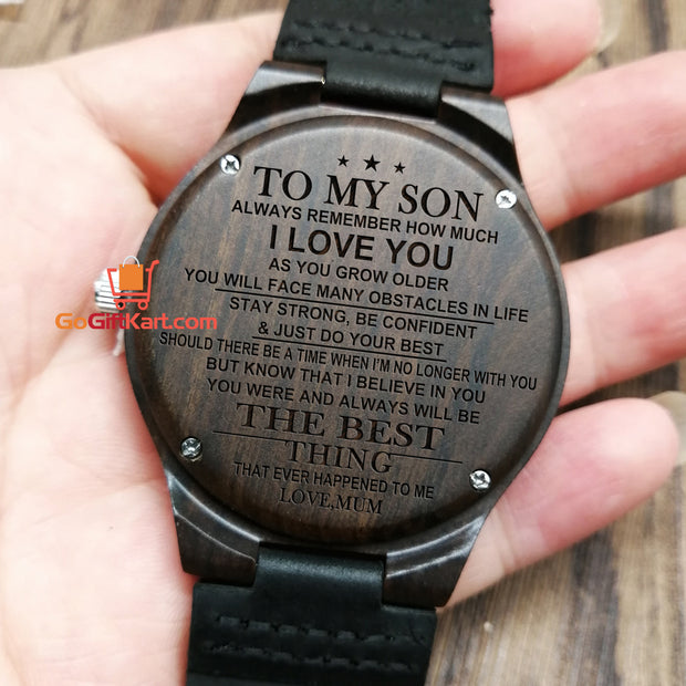 Son Mum The Best Wooden Watch