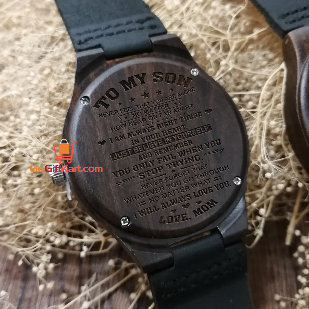 Son Mom Just Believe Wooden Watch