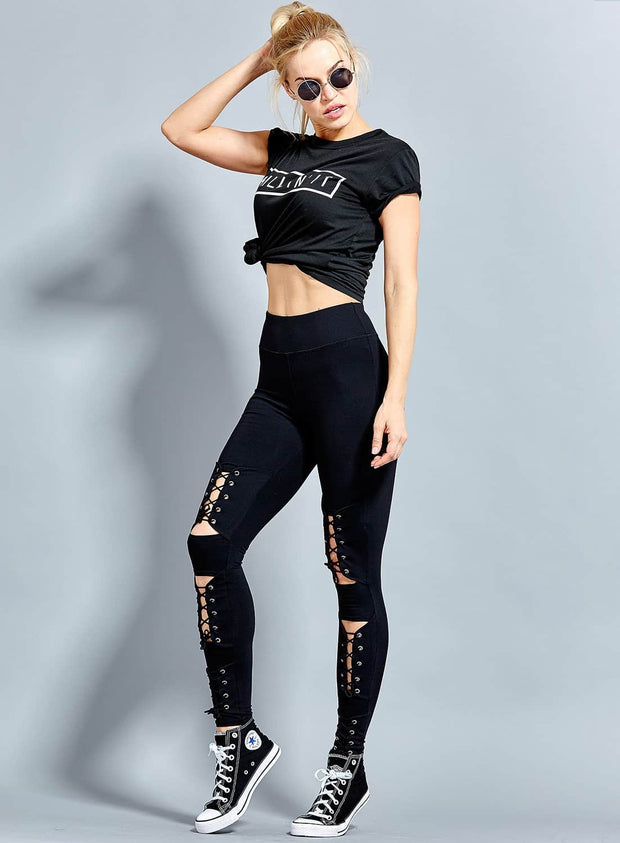 Bella Lace UP Leggings High Quality