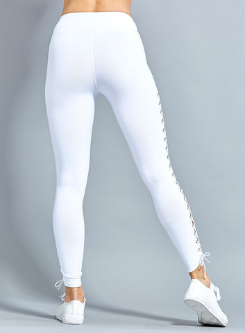 Bella Side Lace UP (White) Leggings High Quality