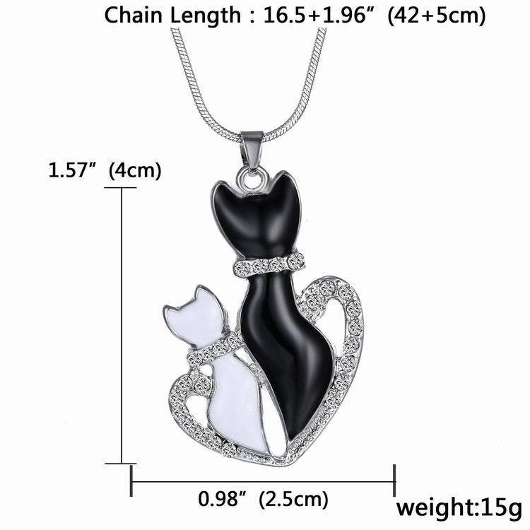 Cat Kitty Heart Hollow Claw Cat Back Crystal Rhinestone Pendant Necklace