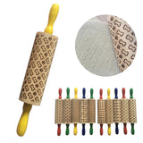 Non-stick Wooden Embossing  Rolling Pin