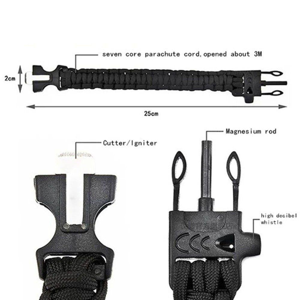 4 in 1 Flint Fire Starter Whistle, Gear Buckle & Paracord Rescue Rope Escape Bracelet