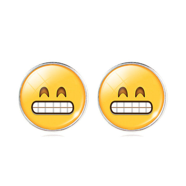 Emoticons Glass Cabochon Stud Earrings
