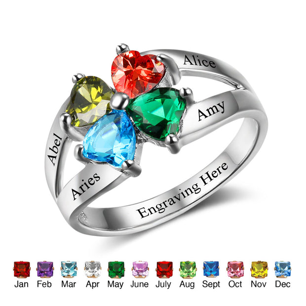 Personalized 4 Stone 925 Sterling Silver Birthstone Ring