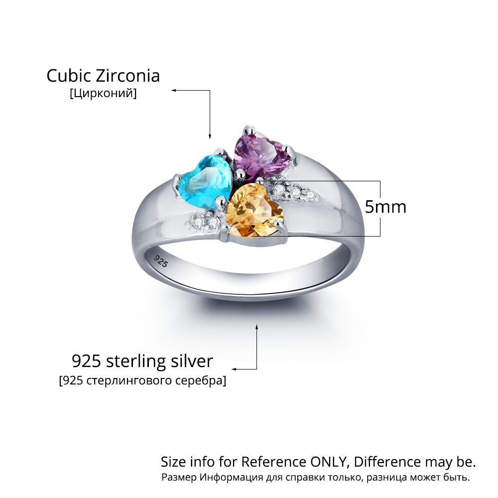 Personalized 3 Stone 925 Sterling Silver Birthstone Ring