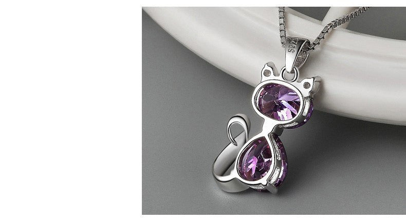 Silver Plated Crystal AAA Zircon Cat Pendant