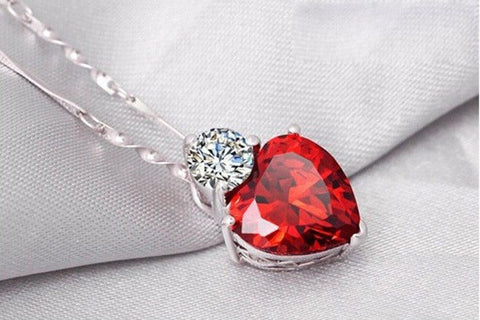 Crystal romantic sliver plated ruby red heart pendant necklace crystal romantic sliver plated ruby red heart pendant necklace earrings set mozeypictures Choice Image