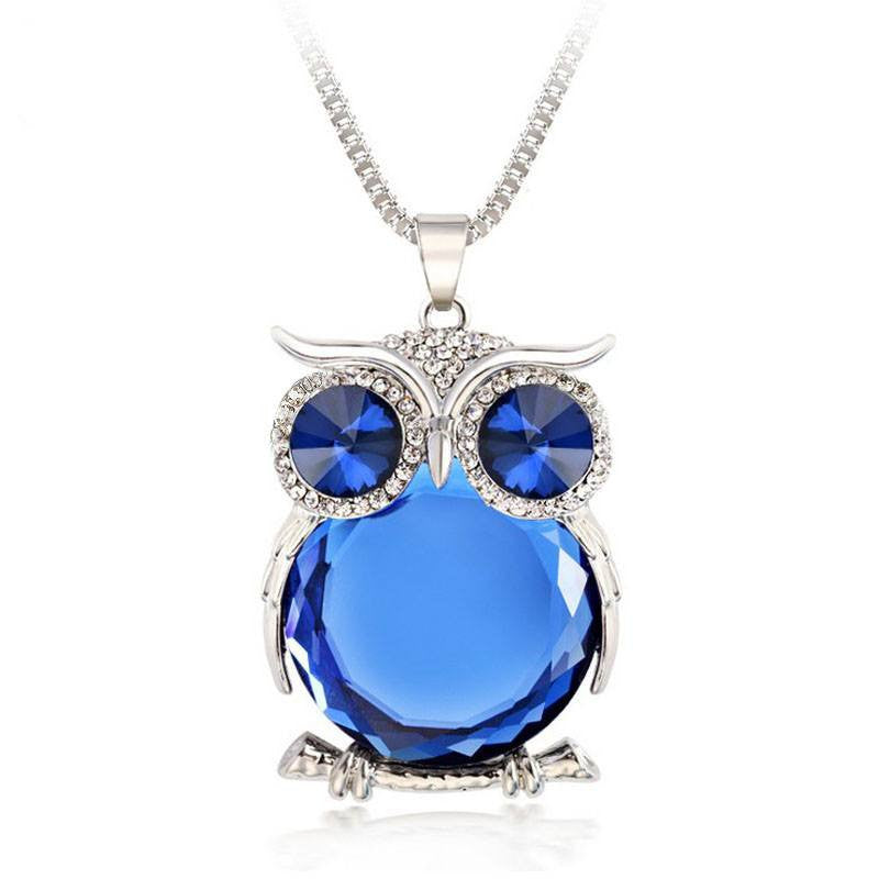 Owl Rhinestone Crystal Pendant with Necklace