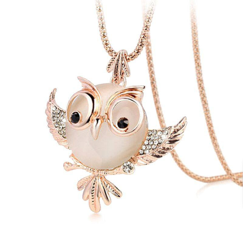 Chubby Owl Rhinestone Crystal Long Chain Necklace & Pendant