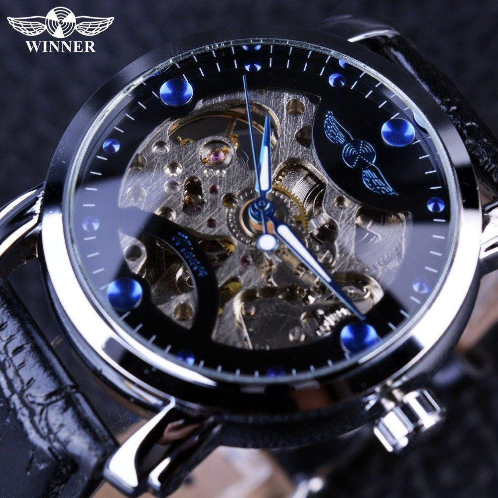 Winner Black Skeleton Designer Blue Engraving Clock Watch