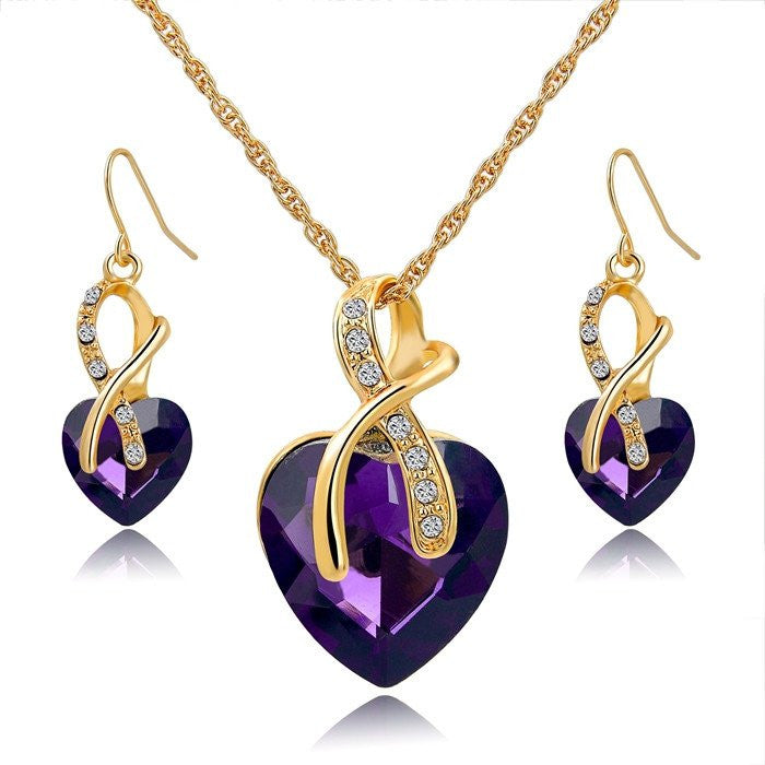 Gold Plated Crystal Heart Necklace Earrings