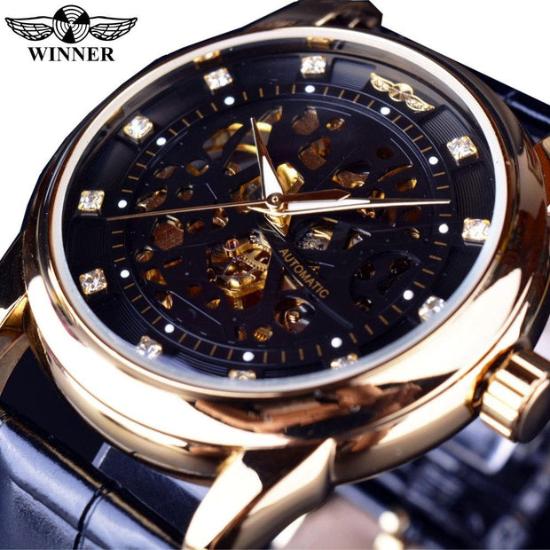 Winner Royal Diamond Design Black Gold Watch