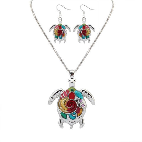 Tortoise Turtle Pendant Necklace Drop Earrings Gold Silver Colorful