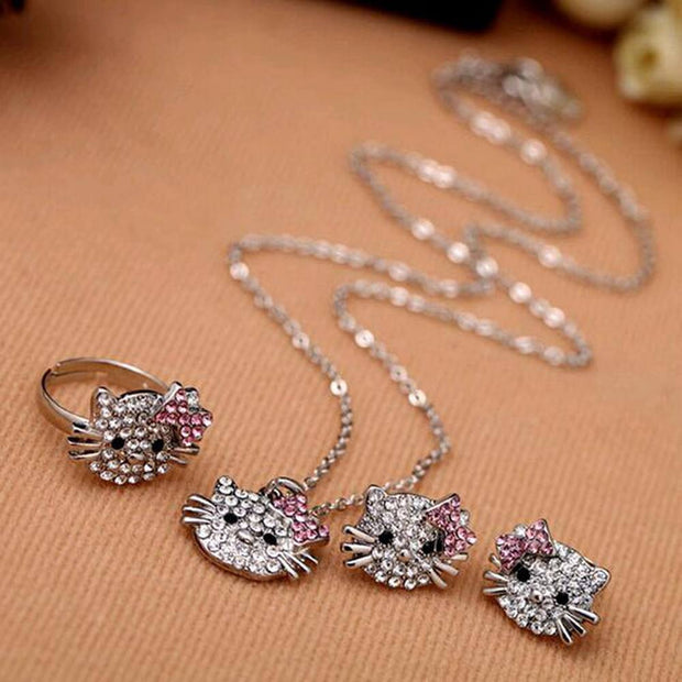 Crystal Cat Stud Rhinestone Earrings and Necklace Set