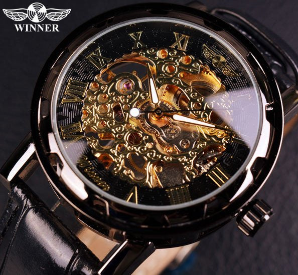 Black Gold Relogios Skeleton Mechanical Leatherband Watch