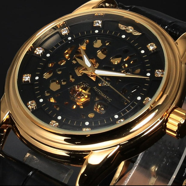 Winner Top Brand Luxury Royal Diamond Design Black Gold Watch