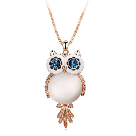 Trendy Chubby Owl Rhinestone Crystal Jewelry Long Chain Necklace & Pendant