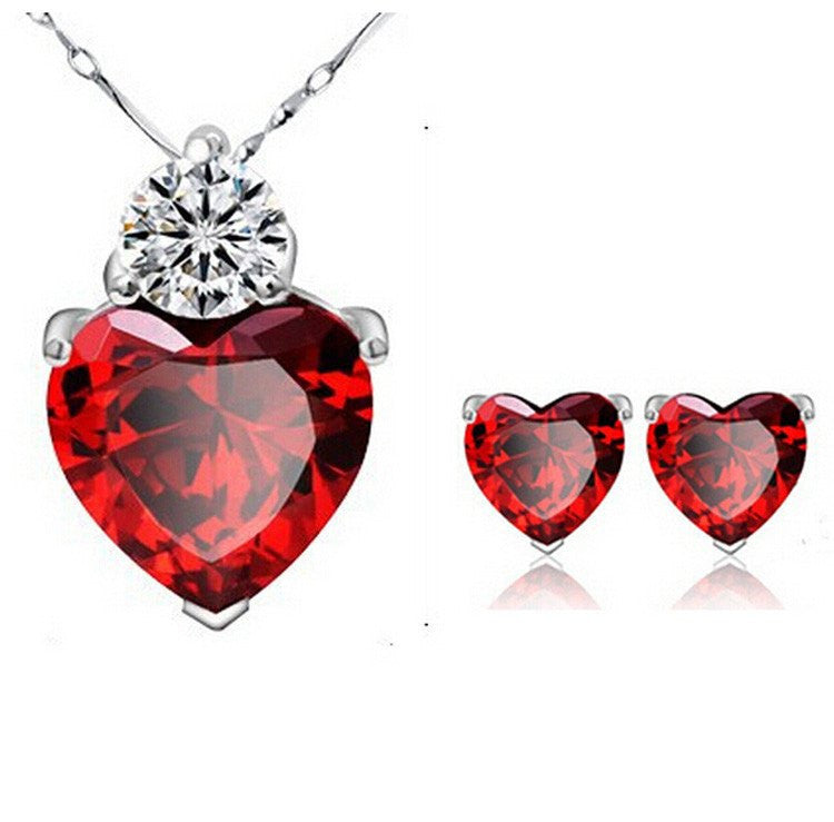 Crystal Romantic Sliver Plated Ruby Red Heart Pendant