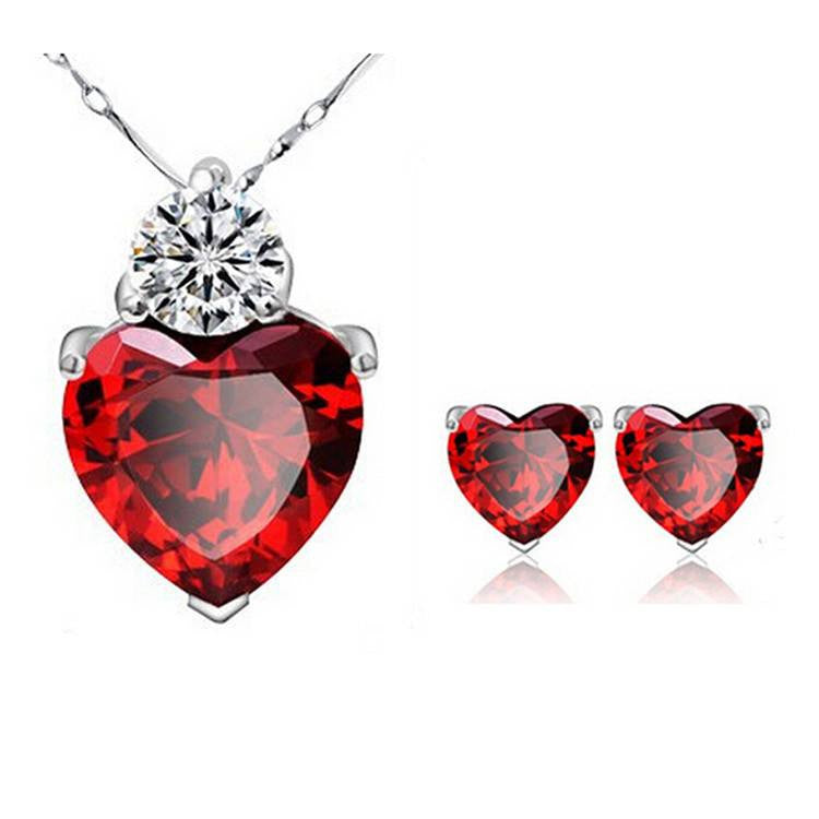 p crystal asp necklace red pendant heart
