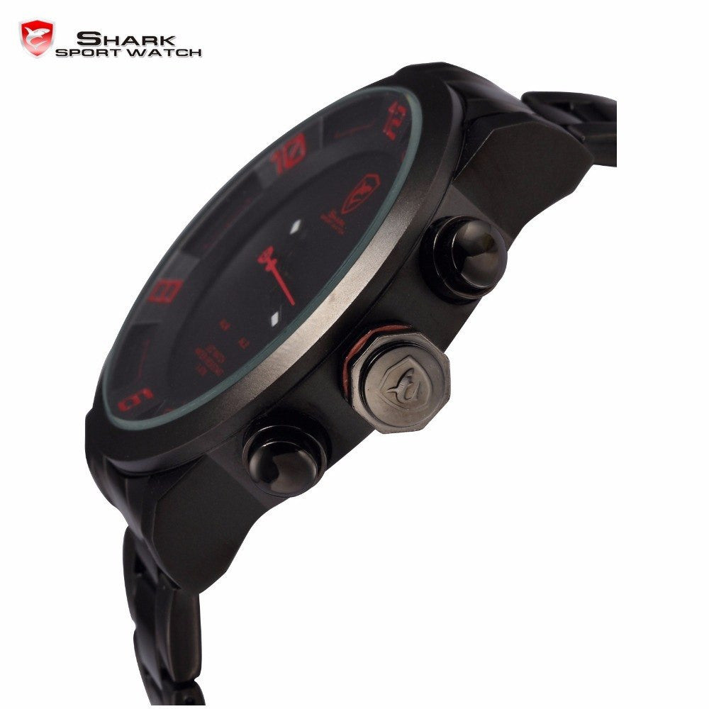 Gulper Shark Red Black Digital Steel Band Sport Watch