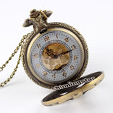 Retro Steampunk Bronze Spine Ribs Hollow Quartz Pocket Watch