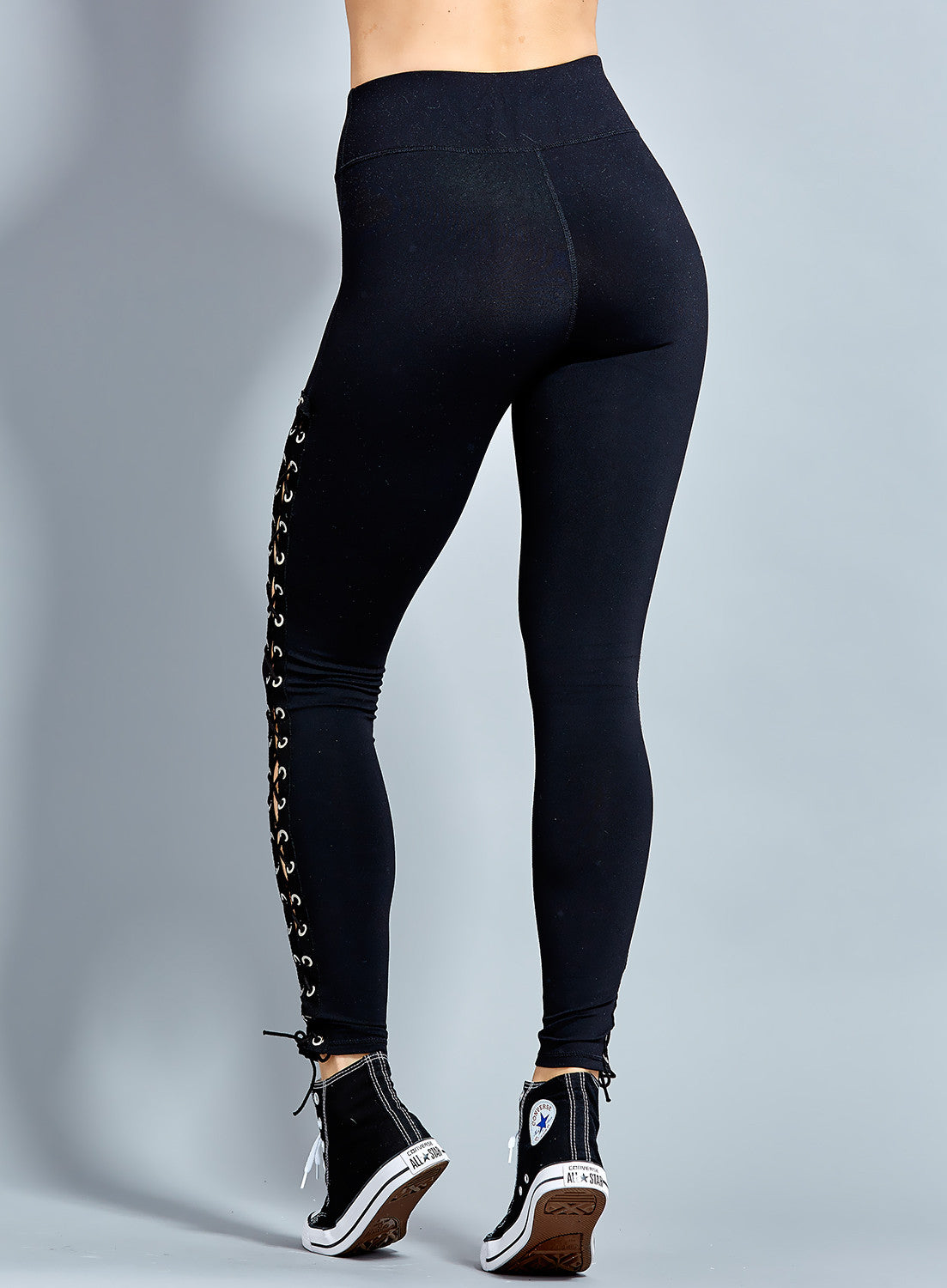Bella Side Lace UP (Black) Leggings High Quality
