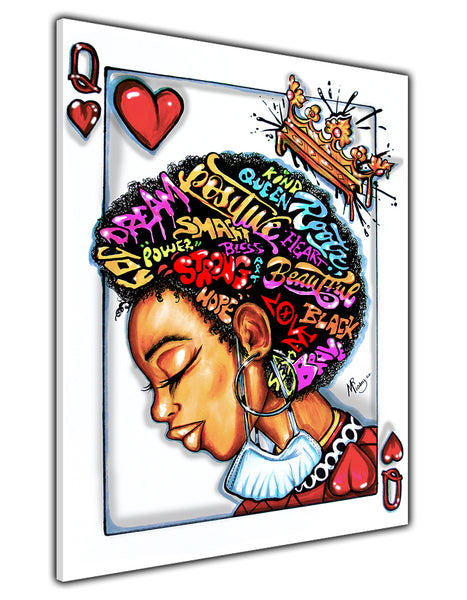 AFRO QUEEN OF HEARTS CANVAS PRINT