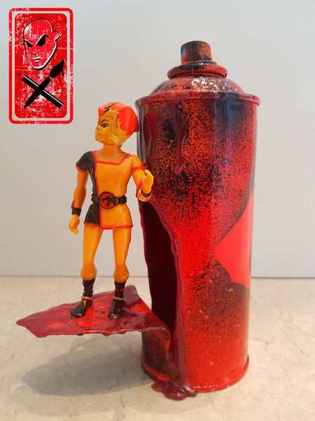 THUNDERCATS WILEY KAT VINTAGE FIGURE WITH SPRAY CAN ART DISPLAY