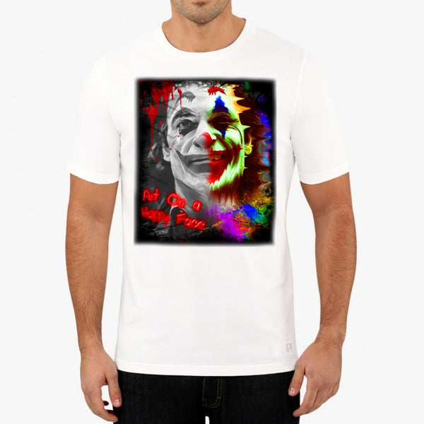 PUT ON A HAPPY FACE/ JOKER WHITE T-SHIRT